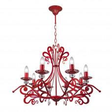 Люстра подвесная дизайнерская красная российского производства ПЕТРАСВЕТ S3129-8, 8хЕ14 макс. 60Вт